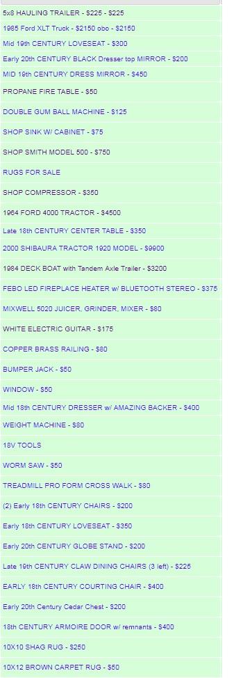 1031 Inventory list